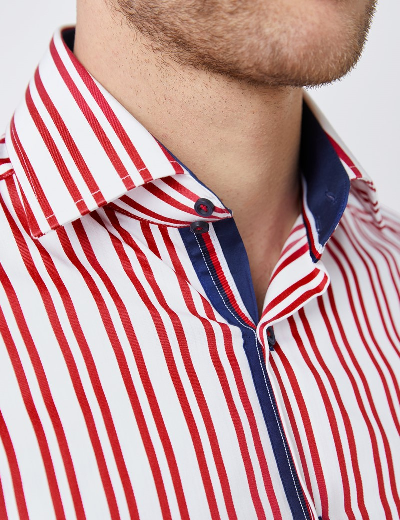 Men's Curtis White & Red Stripes Relaxed Slim Fit Shirt - Medium Collar