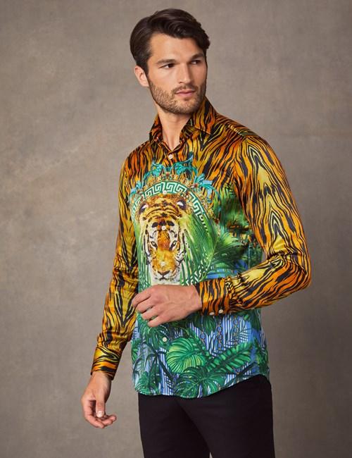 Men's Curtis Orange & Green Tiger Placement Print Slim Fit Shirt – 100% Silk