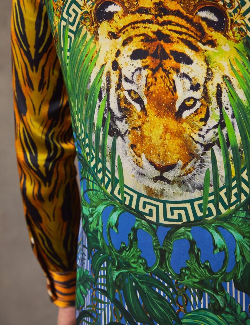 Limited Edition – Seidenhemd – Slim Fit – Tiger