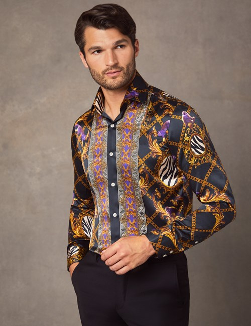 Men's Curtis Black & Gold Animal Placement Print Slim Fit Shirt – 100% Silk