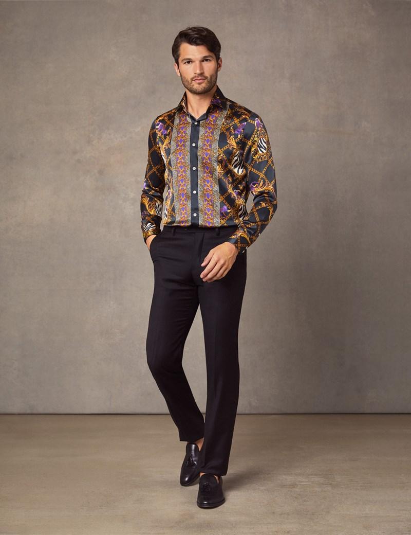 Men's Curtis Black & Gold Animal Placement Print Slim Fit Shirt – 100% Silk