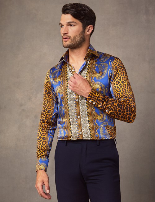 Men's Curtis Blue & Orange Animal Placement Print Slim Fit Shirt – 100% Silk