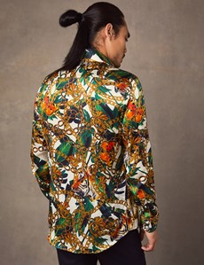 Men's Curtis Green & Gold Jungle Print Slim Fit Shirt – 100% Silk