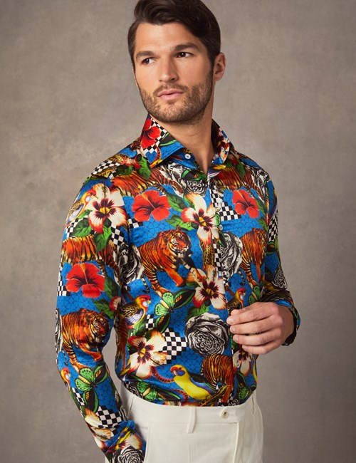 Men's Curtis Blue & Yellow Jungle Dream Slim Fit Shirt – 100% Silk