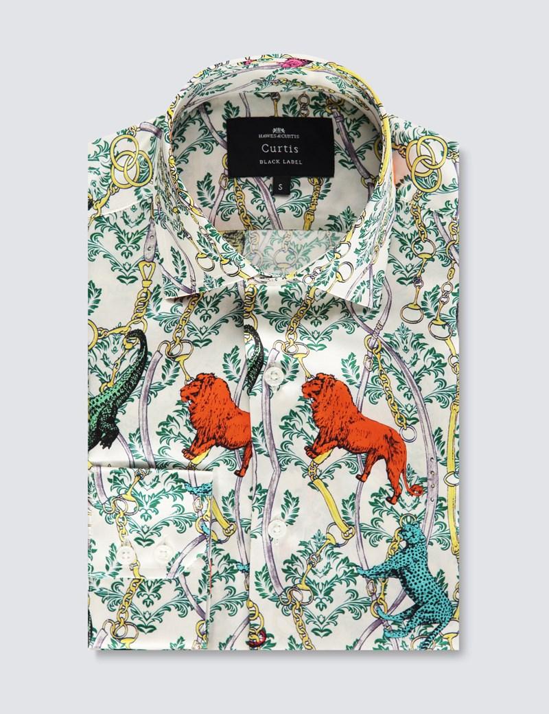 Men's Curtis White & Green Animal Print Slim Fit Shirt – 100% Silk