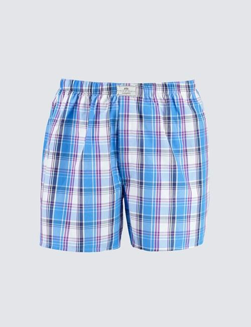 Men's Blue & Purple Large Check Cotton Boxer Shorts