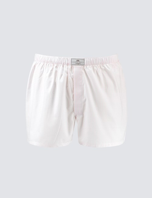 Men's Pink & White Grid Check Cotton Boxer Shorts