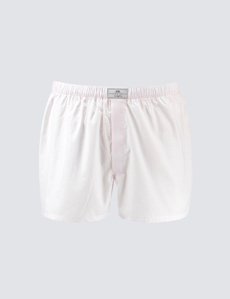 Herren Boxershorts – Baumwolle – Gitterkaro pink & weiß
