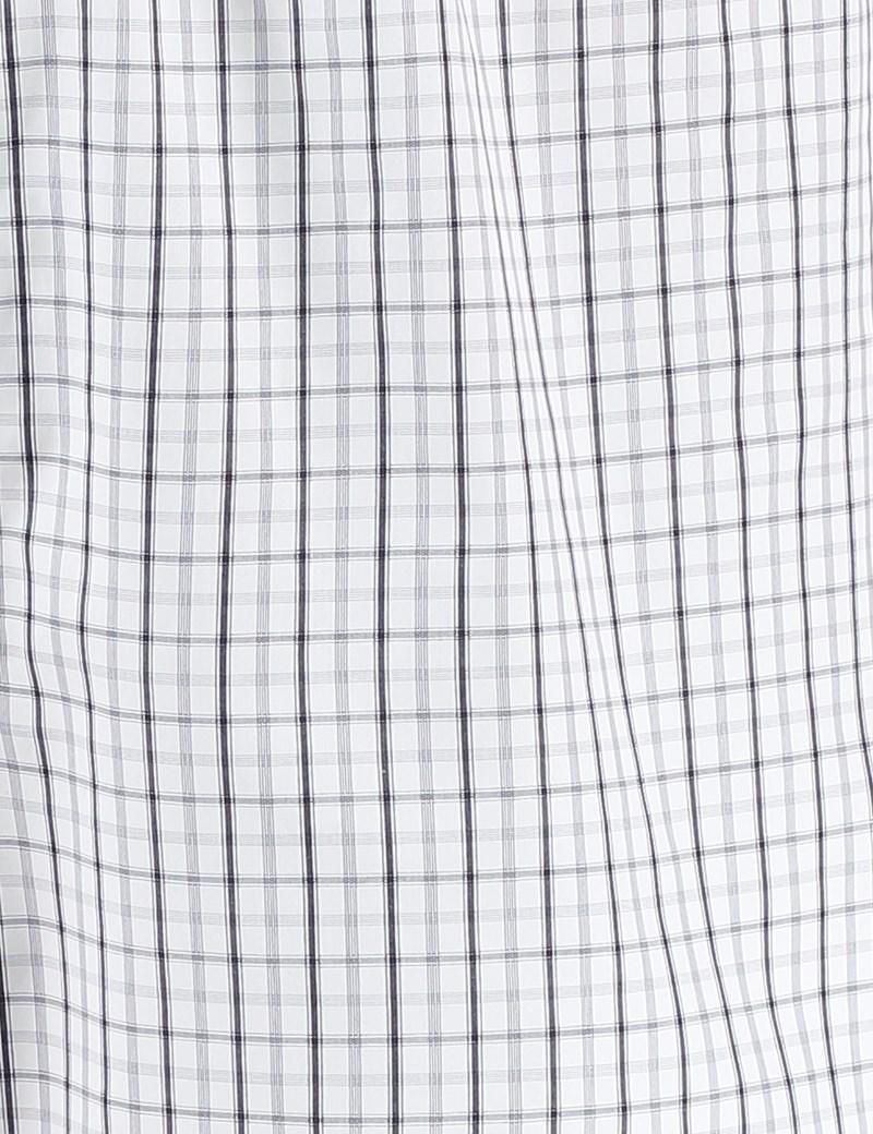 Men's Grey & White Overcheck Cotton Boxer Shorts