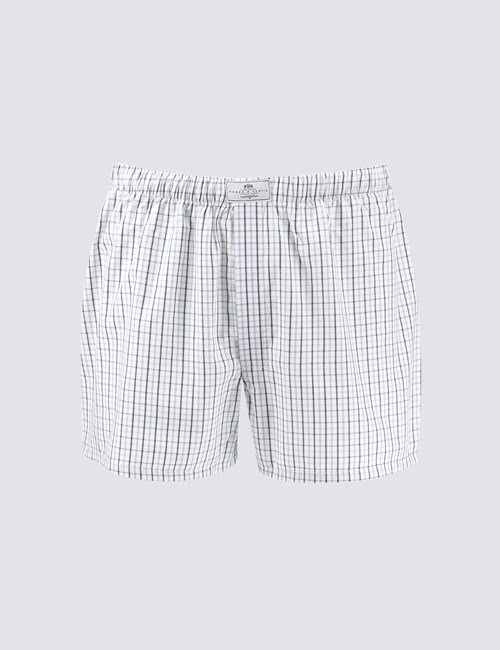 Men's Grey & White Overcheck Cotton Boxer Shorts