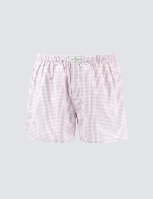 Men's Pink & Grey Small Check Cotton Boxer Shorts