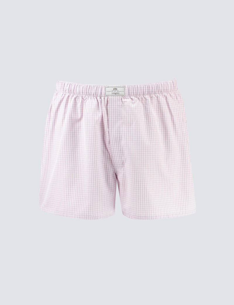Men's Pink & Grey Small Check Cotton Boxer Shorts