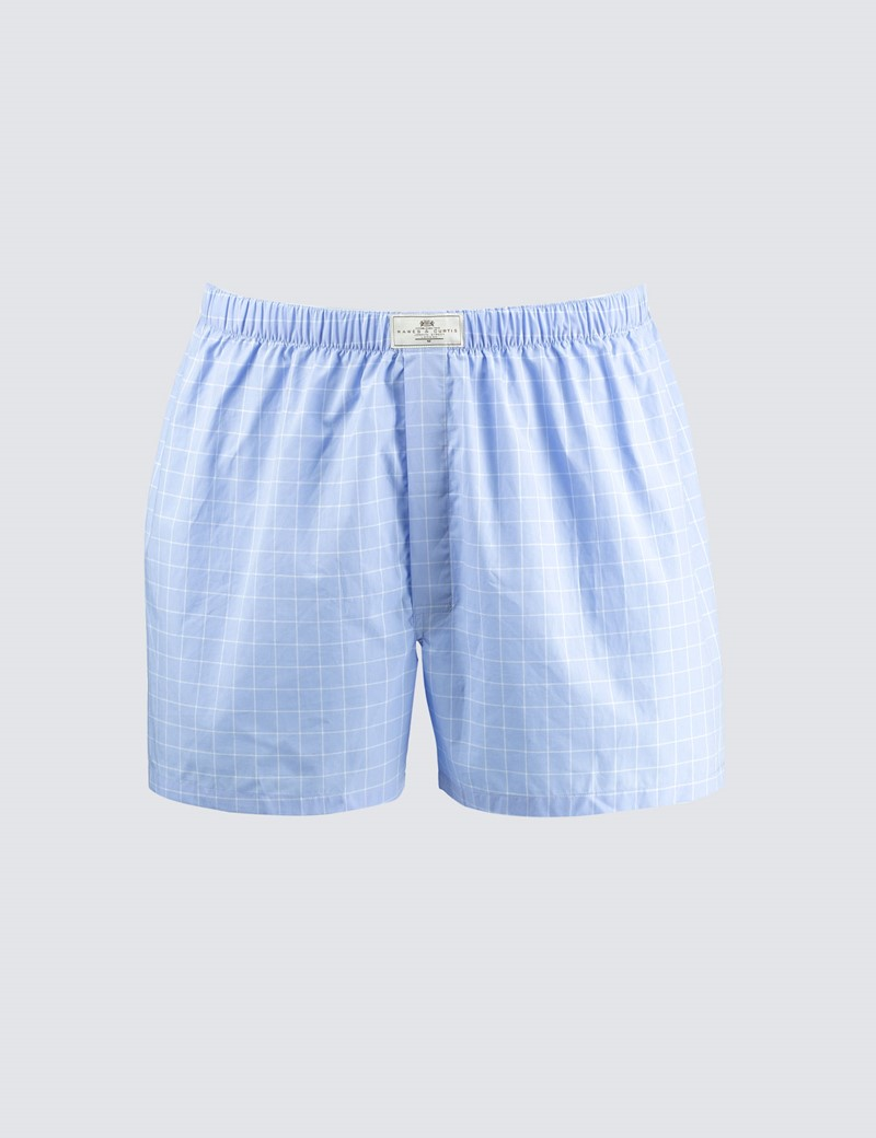 Men's Light Blue Check Cotton Boxer Shorts