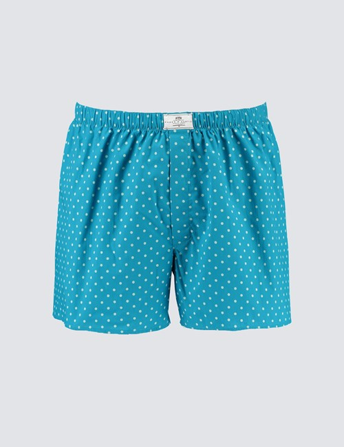Men's Aqua Spot Cotton Boxer Shorts