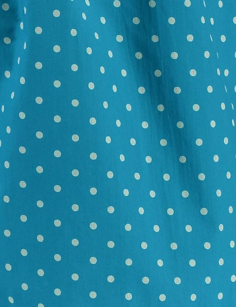 Herren Boxershort – Baumwolle – Aquamarin mit weißen Tupfen