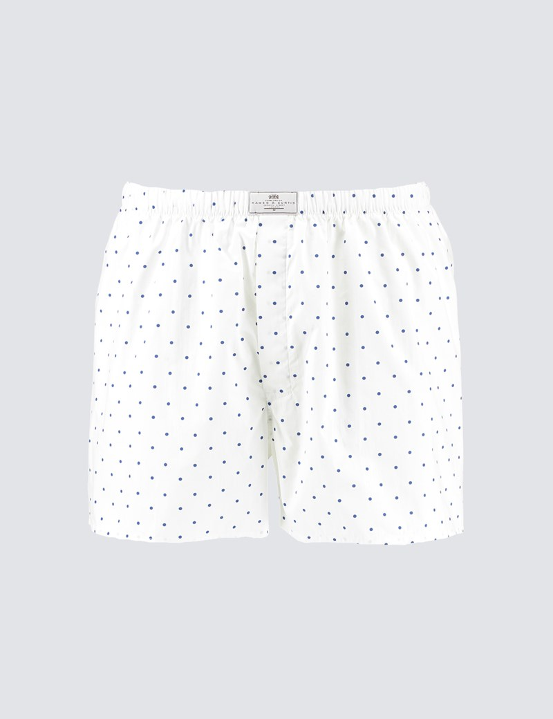 Men's White & Blue Spot Cotton Boxer Shorts