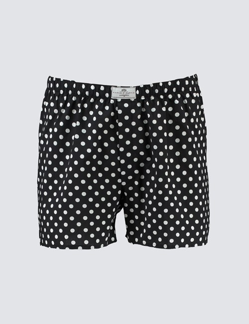 Men's Black & White Big Spot Cotton Boxer Shorts