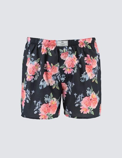 Men's Black & Pink Big Rose Cotton Boxer Shorts