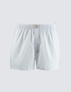 Men's White & Blue Geometric Cotton Boxer Shorts