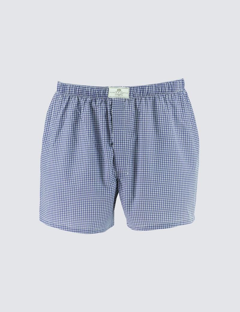Men's Blue & White Geometric Squares Cotton Boxer Shorts