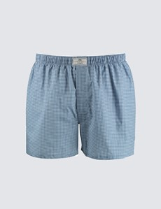 Men's Navy & White Geometric Squares Cotton Boxer Shorts