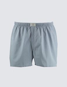 Herren Boxershort – Baumwolle – Geometrisches Design blau & weiß