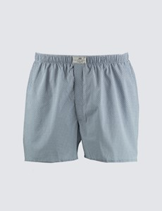 Men's Blue & White Geometric Circles Cotton Boxer Shorts