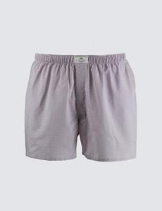 Men's Red & White Geometric Circles Cotton Boxer Shorts