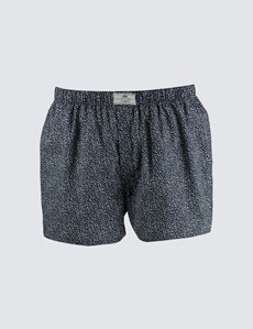 Men's Navy & White Ditsy Floral Cotton Boxer Shorts