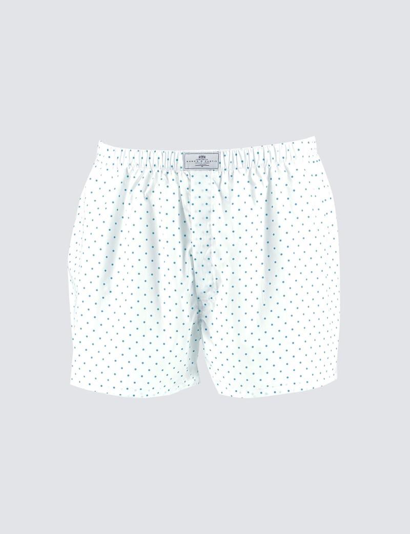 Men's White & Turquoise Spots Cotton Boxer Shorts