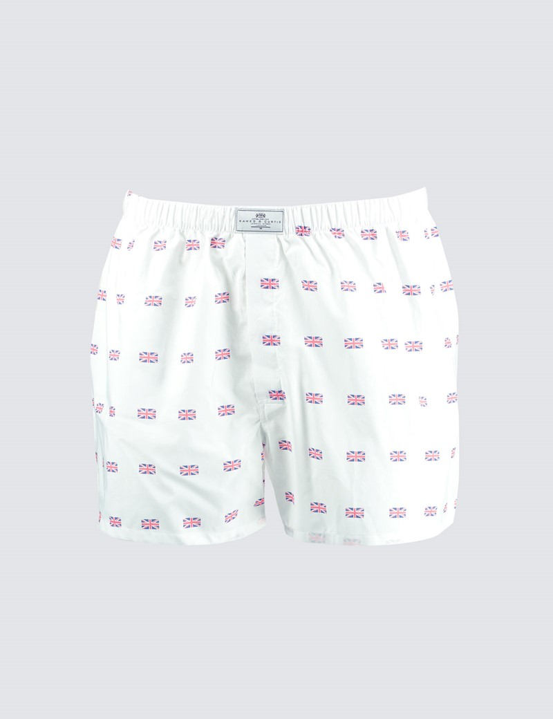 Men's White & Red Union Jack Cotton Boxer Shorts