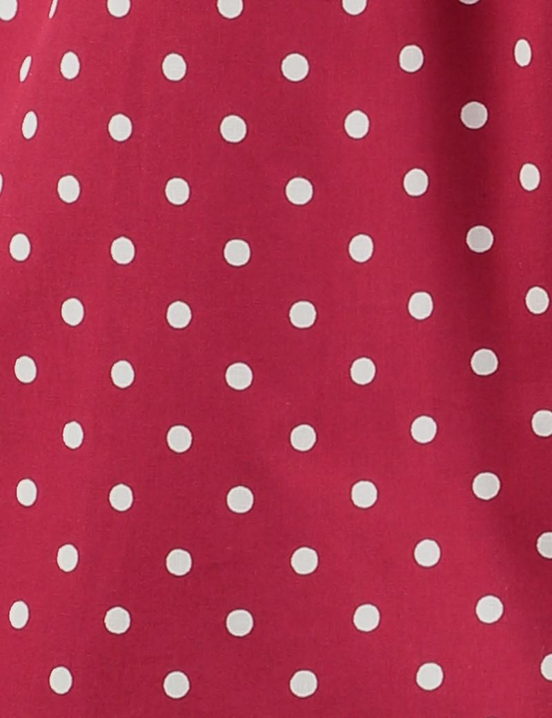 Men's Burgundy & White Polka Dot Cotton Boxer Shorts