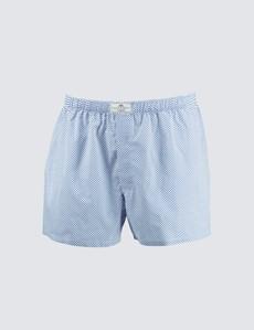 Men's Royal & White Spots Cotton Boxer Shorts