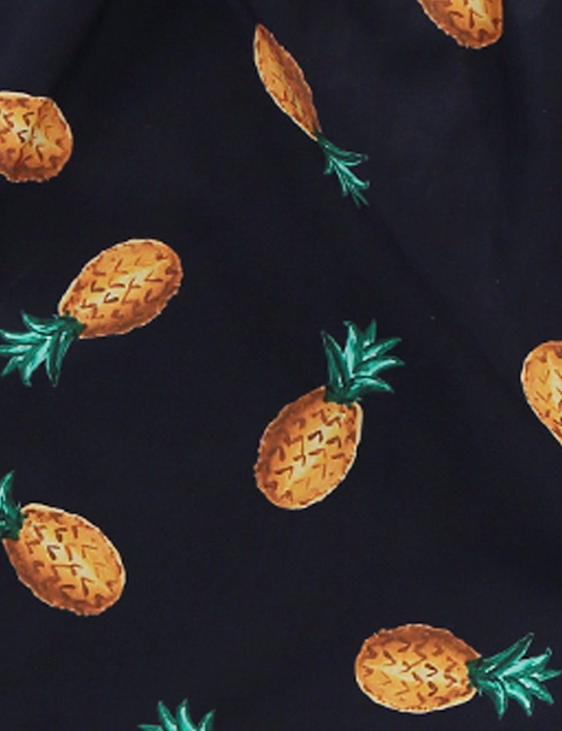 Men's Navy & Orange Pineapples Cotton Boxer Shorts