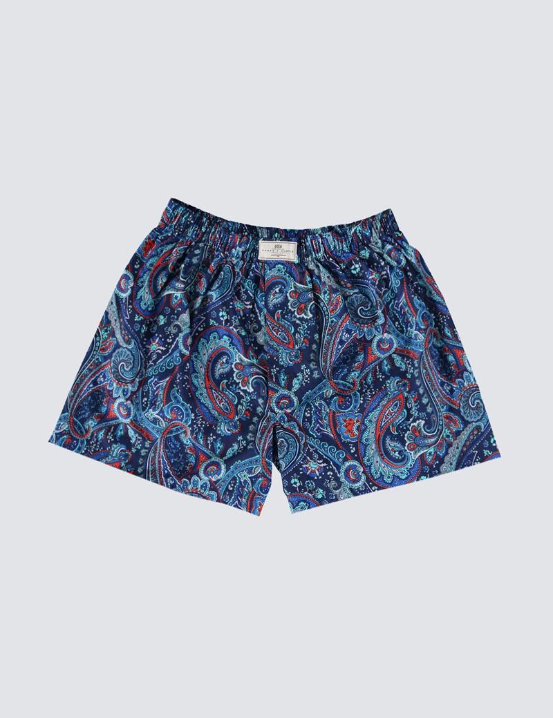 Men's Blue & Red Paisley Cotton Boxer Shorts