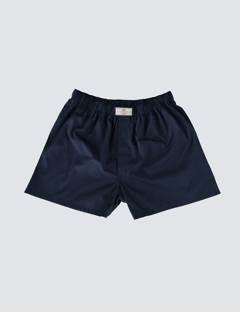 Men's Navy & White Pin Dot Cotton Boxer Shorts