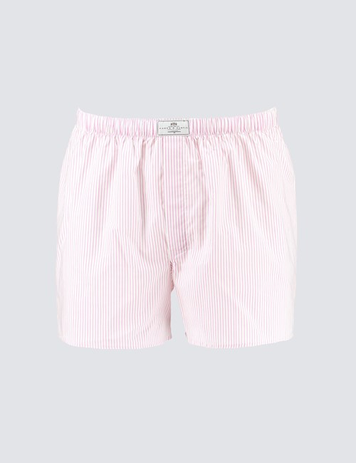 Men's Pink & White Narrow Stripe Cotton Boxer Shorts