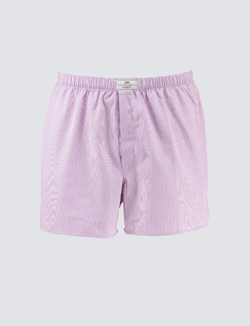Men's Lilac & White Fine Stripe Cotton Boxer Shorts