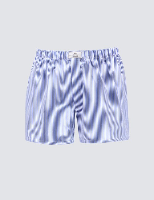 Men's Blue & White Narrow Stripe Cotton Boxer Shorts