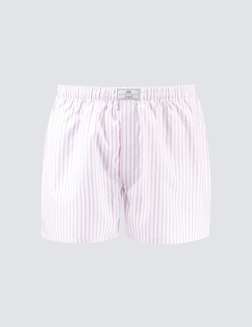 Men's Lilac & White Stripe Cotton Boxer Shorts