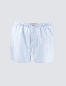 Men's Blue & White Triple Stripe Cotton Boxer Shorts