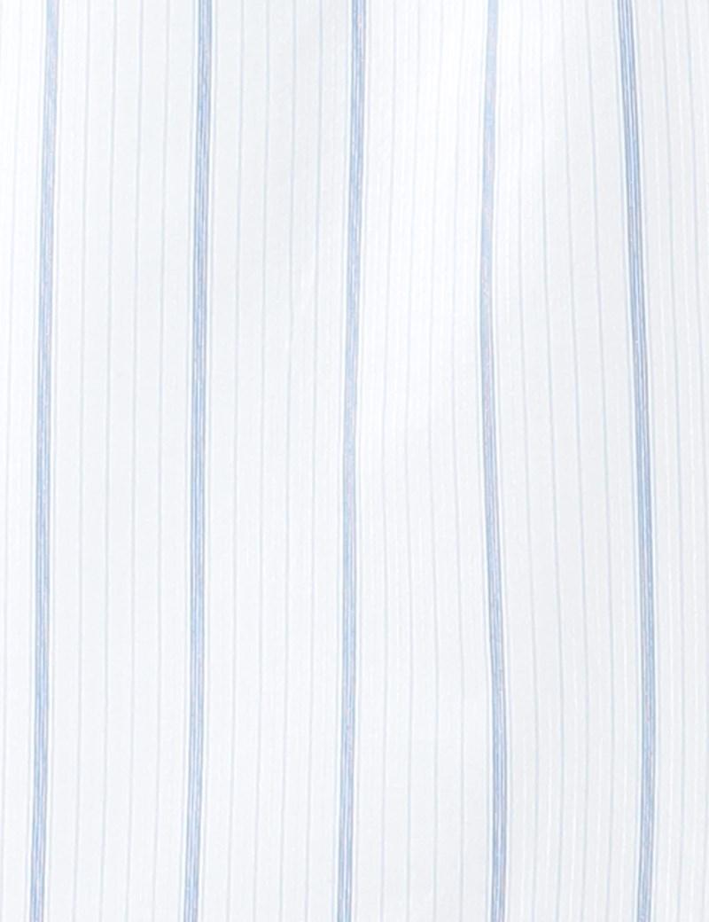 Men's White & Blue Varied Stripe Cotton Boxer Shorts