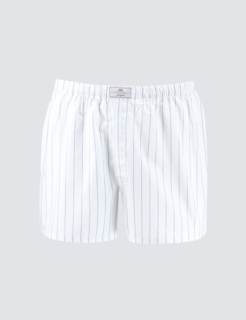Men's White & Blue Varied Stripe Cotton Boxer Shorts
