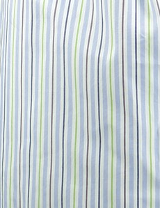 Men's Blue & Green Multi Stripe Cotton Boxer Shorts