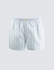 Men's Blue & Green Multi Stripe Cotton Boxer Shorts