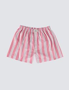 Herren Boxershorts – Baumwolle – Streifen weiß rosa