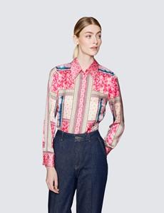 Ladies Pink and Blue Paisley Print Satin Blouse