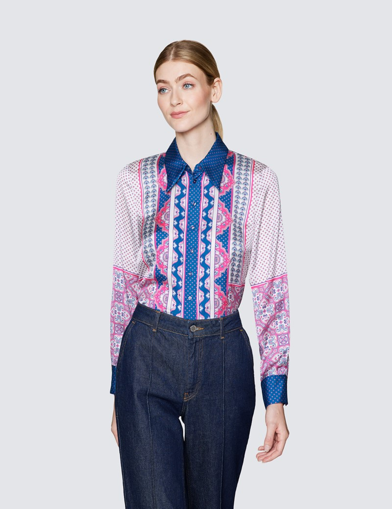 Ladies Blue and Pink Paisley Print Satin Blouse