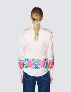 Ladies Cream and Pink Floral Print Satin Blouse