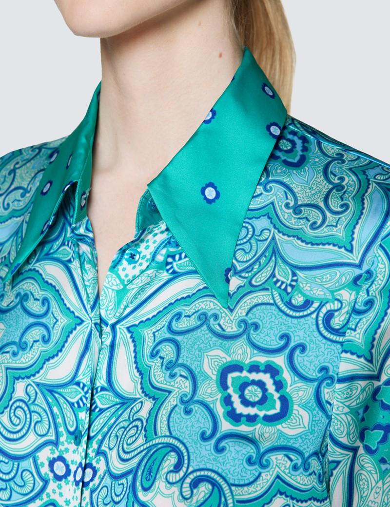 Ladies Aqua Floral Print Satin Blouse